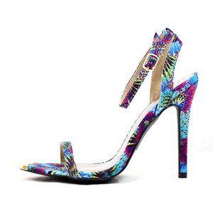 Floral Ankle Strap Stiletto Open Toe Heel Sandal